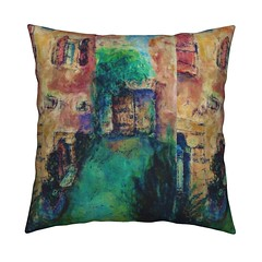 large PAINTED HOUSES VILLAGE GARDEN throw pillow by Paysmage (paysmage) Tags: paysmage painting spoonflower roostery fabric fabrics landscape village town houses window design designers designer decoration drawing door colorful cotton collection coordinates colors polyester pod print printondemand printed autumn fall upholstery panel walls plants herbs sewing stiching france french