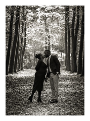Love and Leafs (cornelis1980) Tags: couple pregnant expecting maternity photoshoot fall trees leafs forest park smile happiness monochrome warm tones photography image picture photo fujifilm