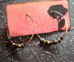 hand forged recycled bright sterling hoops  wbead mix 1 (msficklemedia) Tags: handforged artisanjewelry handcrafted earrings recycledmetal stone beads sterling silver missficklemedia