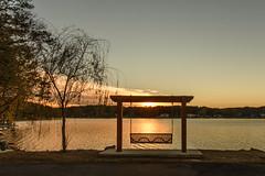 Dusk (Maggggie) Tags: horizontal vertical lines odd three sunset dusk bench takeaim tree sun peachtreecitygeorgia lakepeachtree