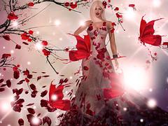 Mariposas rojas (✽Ɍϵdulϲϵ✽) Tags: secondlife mesh firestorm flowers red butterflies girl passion photoshop photomanipulación