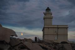 Lighthouse and full moon (Franco & Lia) Tags: faro lighthouse santateresa capotesta sardegna sardinia luna moon lunapiena fullmoon night bynight notte dinotte granito granite gallura moonrise olympus omd em10ii