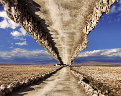 Two Roads (Alexander H.M. Cascone [insta @cascones]) Tags: south america southamerica chile latinoamerica san pedro sanpedro sanpedrodeatacama atacama desert nature travel water clouds sky natural landscape blue beautiful view mountains salta argentina rocks rocky path road trail psychadelic art perspective distort photoshop