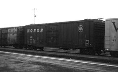 Monon boxcar with roof hatches at San Bernardino in 1979 (Tangled Bank) Tags: train railroad railway old classic heritage vintage history historical 20th century north american equipment monon boxcar with roof hatches san bernardino 1979