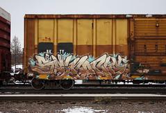 Strange (quiet-silence) Tags: graffiti graff freight fr8 train railroad railcar art strange sfb koc boxcar bkty bkty154819