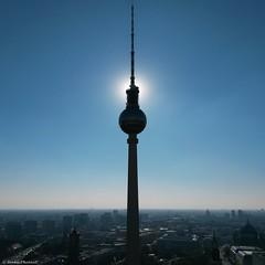 Berlin Tv-Tower in Shadow (Jenke-PhotozZ) Tags: fernsehturm light licht lights berlin berlin365 bluesky buildings shadow sun sky symmetric symmetrical view perspective blue love lookdown mitte dark ausblick aussicht skyline sonne schatten beautiful alexanderplatz amazing nofilter tvtower