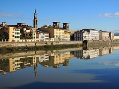 Reflection in Arno river (Giannno62) Tags: reflection riflessi sky cielo arno river fiume florence firenze specchio mirror