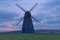 Mill at Dawn (Geoff Henson) Tags: windmill mill building architecture structure historic sails skirt sunrise dawn daybreak morning cloud sky grass village lights houses rottingdean sussex