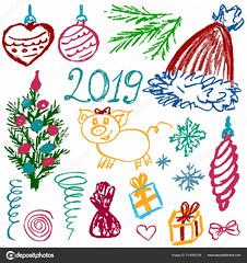 Set of elements for your creativity (aera201) Tags: crayon chalk vector poster sketch wax hand banner design element grunge kids child paper baby card cartoon draw illustration kid collection drawings doodle chalkboard icon scribble blackboard chalked doodles graphic set symbol new year postcard flyer congratulations web elements bow christmastree furtreetoys snowflake family candy confetti cap christmas gift heart