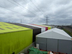 UK - London - Rainham - Multi coloured warehousing (JulesFoto) Tags: uk england northeastlondonramblers london rainham ingrebourneway warehouses