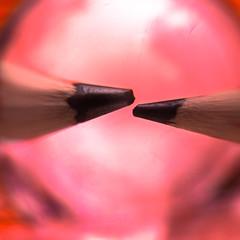 thoughts (solalta) Tags: circle bokeh blur pencils closeup pink macro abstract minimal two square round lensball red winnipeg manitoba canada ca