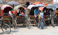 Rickshaws in Kathmandu Nepal (Dave Russell (1.5 million views thanks)) Tags: rickshaw rickshaws bicycle bicycles bike bikes vehicle transport passenger cyclist cyclists hire rental reward rider riders travel tourism outdoor kathmandu nepal nepalese canon eos eos7d 7d