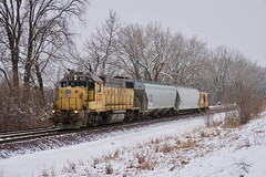 UP Local near Muncie, KS on the UP Kansas Sub (sd39u1556) Tags: local unionpacific trains winter snow caboose