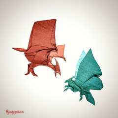 Rodan 2.0 vs Mothra 2.0 (joeygami) Tags: origami rodan mothra godzilla gojira kaiju titans flying wings butterfly monsterverse bird moth insect bug pterodactyl sculpture illustration painting drawing japan japanese toho design paper art craft kingofthemonsters