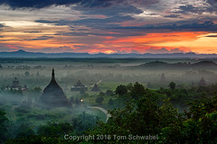 A World Apart (pdxsafariguy) Tags: sunset smoke fog clouds burma asia southeastasia myanmar rakhinestate mrauku temple buddhism ancient htukkantheintemple ratanabontemple pagoda stupa andawtheintemple trees rainforest tropical tomschwabel landscape
