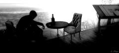 Empty Chair (Loegan Magic) Tags: secondlife blackandwhite silhouette ocean draftingtable chair bottle oceanlonlieness