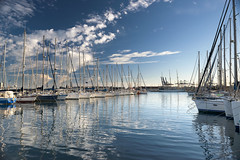Little port in Valencia (Varvara_R) Tags: spain valencia travel explore port boat boats sunset evening reflection reflections sky bluesky cloud clouds waterreflection sunny sunshine scene scenery scenic weather nopeople