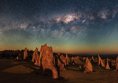 Moonlit Milky Way - Pinnacles Desert, Western Australia (inefekt69) Tags: milky way pinnacles desert moonlit moon cosmology southernhemisphere cosmos southern westernaustralia australia dslr long exposure rural nightphotography nikon stars astronomy space galaxy astrophotography outdoor milkyway core great rift 35mm d5500 panorama stitched mosaic nature landscape msice sky night