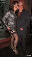 A date with Mark (janegeetgirl2) Tags: transvestite crossdresser crossdressing tgirl tv ts trans jane gee manchester canal street silver dress high heels full fashioned black stockings