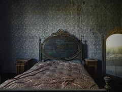 Golden blue (JG - Instants of light) Tags: bedroom furniture bed mirror wallpaper flowers dark creepy abandoned forgotten decay quarto mobília cama espelho papeldeparede flores azul dourado sombrio arrepiante abandonado esquecido decair urbex exploraçãourbana fujifilm sl1000 portugal