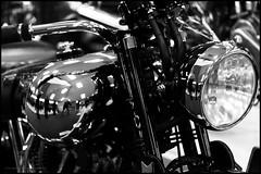 Brough Superior (G. Postlethwaite esq.) Tags: bw broughsuperior canon40d canonefs60mmmacro dof nationalmotorcyclemuseum beyondbokeh blackandwhite bokeh depthoffield monochrome motorcyle photoborder primelens selectivefocus