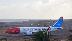 Norwegian Boeing 737 MAX 8 LN-BKC UNICEF special livery Lanzarote Arrecife Airport webcam capture (AirportWebcams.net) Tags: norwegian boeing 737 max 8 lnbkc unicef special livery lanzarote arrecife airport webcam capture ace gcrr