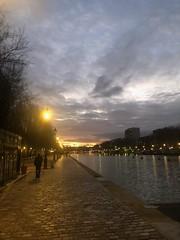 Into the sunset along Bassin de La Villette (marc.barrot) Tags: urbanlandscape canal sunset france paris 75019 bassindelavillette quaidelaloire shotoniphone
