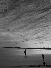 welcoming the unknown~ (~mimo~) Tags: morocco essaouira beach reflection sky sand life blackandwhite photography doubleexposure iphonex mobile