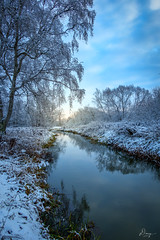Frosty Winter (dannygreyton) Tags: winter river snow water stream sunset sun cold ice trees lund sweden canon canong1xiii landscape park walking reflection