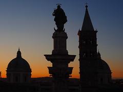 Santa Maria Maggiore in Rome (Digidoc2) Tags: santamariamaggiore church sunset silhouette domes campanile sky historic building architecture statues column religious city urban rome italy