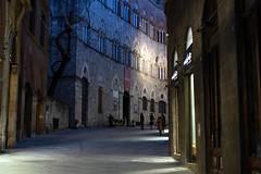 """ Yesterday, it was dark and cold "" (pigianca) Tags: italy siena historicalcenter viadicittà night light architecture palazzochigisaracini sonyilce7m3 sonyfe55mmf18"