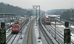 Rotenburg train station (Schwanzus_Longus) Tags: bahn brick building db deutsche engine german germany industrial loco locomotive railroad railway railyard red road shed snow snowstorm track tracks train trains baureihe class br 143 regio commuter public transportation