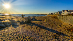 A romanntic walk on the beach (Alan Charles) Tags: 2018 ct connecticutshore madison seascape afternoon beach cottages latefall rockyshore sand shore sky walking