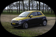 Fiat 500 Bi-Colore, twin air. (Eduard van Bergen) Tags: cars pkw fiat 500 bicolore twinair italy voitures torino automobili italiana fabricca sonyilce5000 sigmadnart60mm28 cab yellow black jaune noir traffic sprite icon iconic frau woman dame lady girl home work business female wheels city town rural roads trend fashion italië turijn ladies car topolino donna frauen signorine little small road hills lightweight mileage tipo signorina young new history daily money garage engine oilchange oil vacation driving maintenance primo cool cult mini saving lubrication lube viscosity