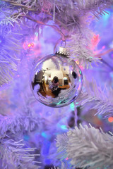 Annual Christmas Selfie (flashfix) Tags: december092018 2018inphotos flashfix flashfixphotography ottawa ontario canada nikond7100 christmas decorations silver black glitter ornaments christmasballs reflections selfie selfportrait camera 28mm