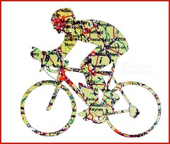 Cycling across England (heatherpix) Tags: bicycle map cutout england