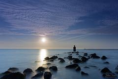 Sunset at the Brouwersdam II (Johan Konz) Tags: sea ocean northsea water sky sunset stones rocks brouwersdam zeeland netherlands nikon d7500 landscape seascape shoreline horizon le longexposure