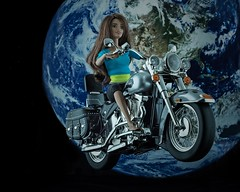 """ Exploring the Universe "" (Hans J Fischer) Tags: exploring barbie universe space motorcycle harleydavidson earth timetravel rebel outlaw bikerchick biker doll toy fantasy riding wild children child playing props stillife tabletop photography studio timelaps art creative woman girls"