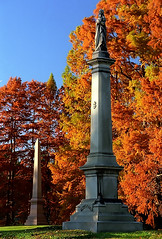 "Cincinnati - Spring Grove Cemetery & Arboretum ""Obelisks At Evening"" (David Paul Ohmer) Tags: spring grove cemetery arboretum cincinnati ohio springgrove cemetary autumn fall obelisk cypress tree"