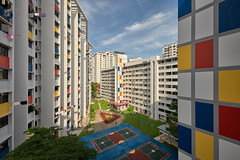 MacPherson Mondrian (Scintt) Tags: singapore contrast directional golden orange warm yellow architecture building structure lines facade dramatic surreal design construction modernist light glow sun wideangle nikon panorama stitched residential estate apartments flats homes housing living space urban exploration modern scintillation scintt jonchiangphotography windows walls concrete corridor texture enclosed public real hdb garden rooftop vantagepoint skyscraper tall sky clouds green blue city cityscape skyline colourful rainbow mondrian art
