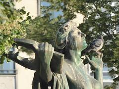 Something in both hands (seikinsou) Tags: brussels belgium bruxelles belgique summer midsummer square ambiorix statue sculpture hand pigeon