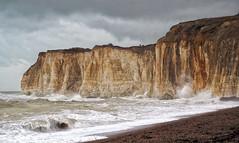 IMG_4696 (saundersfay) Tags: waves lighthouse rough seas coast beach cliffs dangerous sunset foam spray