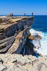 Royal NP - on the edge (NettyA) Tags: 2018 australia nsw newsouthwales royalnationalpark sydney bushwalk bushwalker bushwalking coast coastal sandstone rock bushwalkers