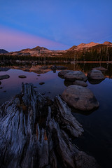 Different two (Old as you feel, Fujinite) Tags: bluehour fuji fujifilm fujinon xt3 1024 evening sunset lake water reflection stump log rocks mountains landscape outdoor nature