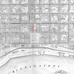 07 French Quarter Map: waterfront area (Adventure George) Tags: alley americanhistory crisscrosspattern deepsouth frenchquarter gulfcoast historicalphotograph history jeanandpierre jeanlafitte laffite louisiana lowermississippibasin map mississippiriver neighborhood neworleans nolarecovery peoples photogeorge piratesalley vieuxcarré unitedstatesofamerica us