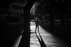 Running like a Child (elgunto) Tags: kid street people light shadows highcontrast backlighting silhouette barcelona sonya7 canonltm50mm14 m39 blackwhite monochrome bw