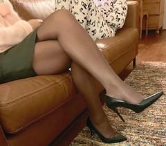 MyLeggyLady (MyLeggyLady) Tags: toe cleavage stockings sex hotwife milf sexy secretary teasing crossed miniskirt thighs stiletto cfm pumps leather legs heels