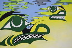 20181029 Victoria (Robert Harwood) Tags: mural victoria vancouverisland britishcolumbia canada art native painting butch dick outdoor songhees green yellow blue