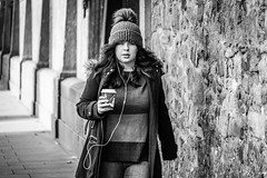 Coffee Rush (Cycling-Road-Hog) Tags: blackwhite candid canoneos750d citylife colour efs55250mmf456isstm edinburgh fashion hat headphones mobile monochrome people places scotland street streetphotography streetportrait style urban