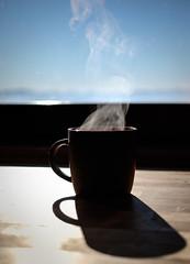 Morning (Chiaro Chiari) Tags: cup mug bowl tazza coffee caffè morning mattina alba dawn sunshine smoke fumo smoking fumante montagne mountains mountain piemonte italy italia asti breakfast colazione drink bere sky cielo blue blu